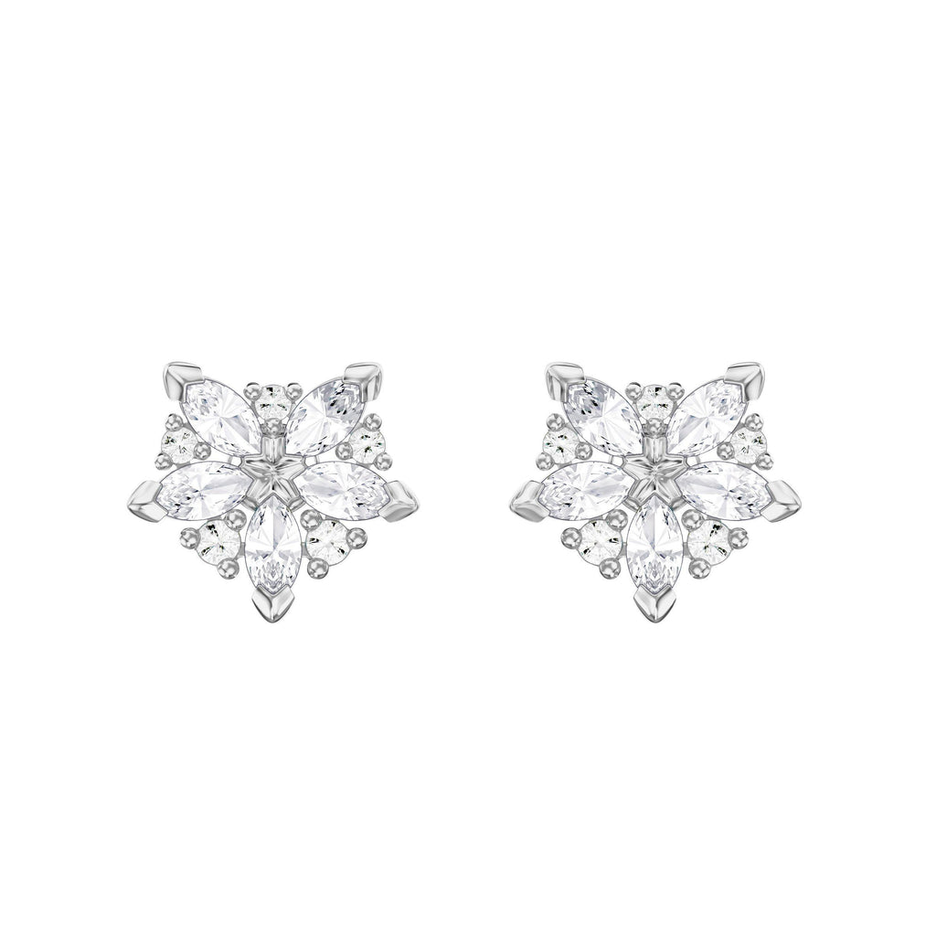 SWAROVSKI LADY PIERCED EARRINGS, WHITE, RHODIUM PLATING