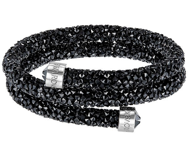 SWAROVSKI CRYSTALDUST DOUBLE BANGLE, BLACK, STAINLESS STEEL