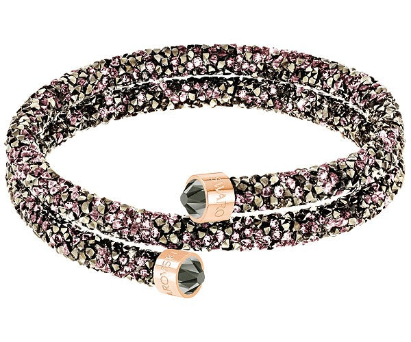 SWAROVSKI CRYSTALDUST DOUBLE BANGLE, MULTI-COLORED, ROSE GOLD PLATING