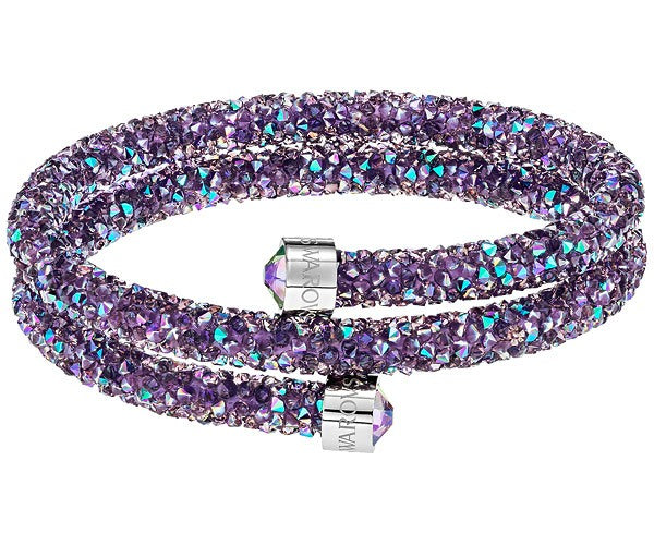 SWAROVSKI CRYSTALDUST DOUBLE BANGLE, PURPLE, STAINLESS STEEL