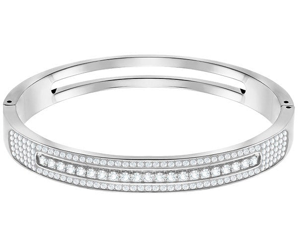 SWAROVSKI FURTHER WIDE BANGLE, WHITE, STAINLESS STEEL