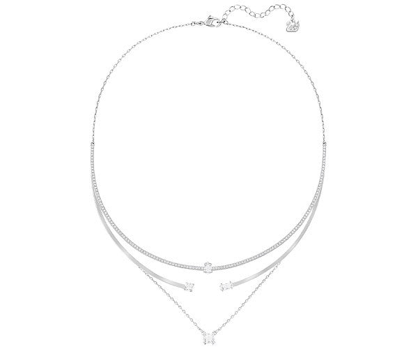 SWAROVSKI GRAY LAYERED NECKLACE, WHITE, RHODIUM PLATING
