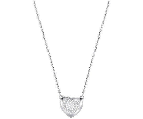 SWAROVSKI HALL HEART PENDANT, WHITE, RHODIUM PLATING