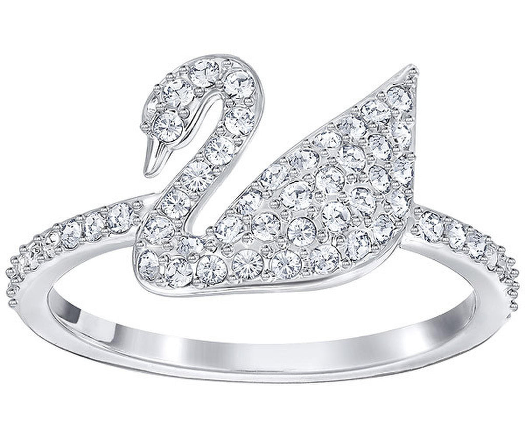 SWAROVSKI ICONIC SWAN RING(M), WHITE, RHODIUM PLATING