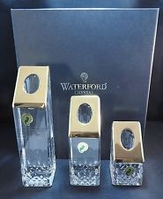 WATERFORD CRYSTAL LISMORE ESSENCE GOLD Candlesticks set of 3