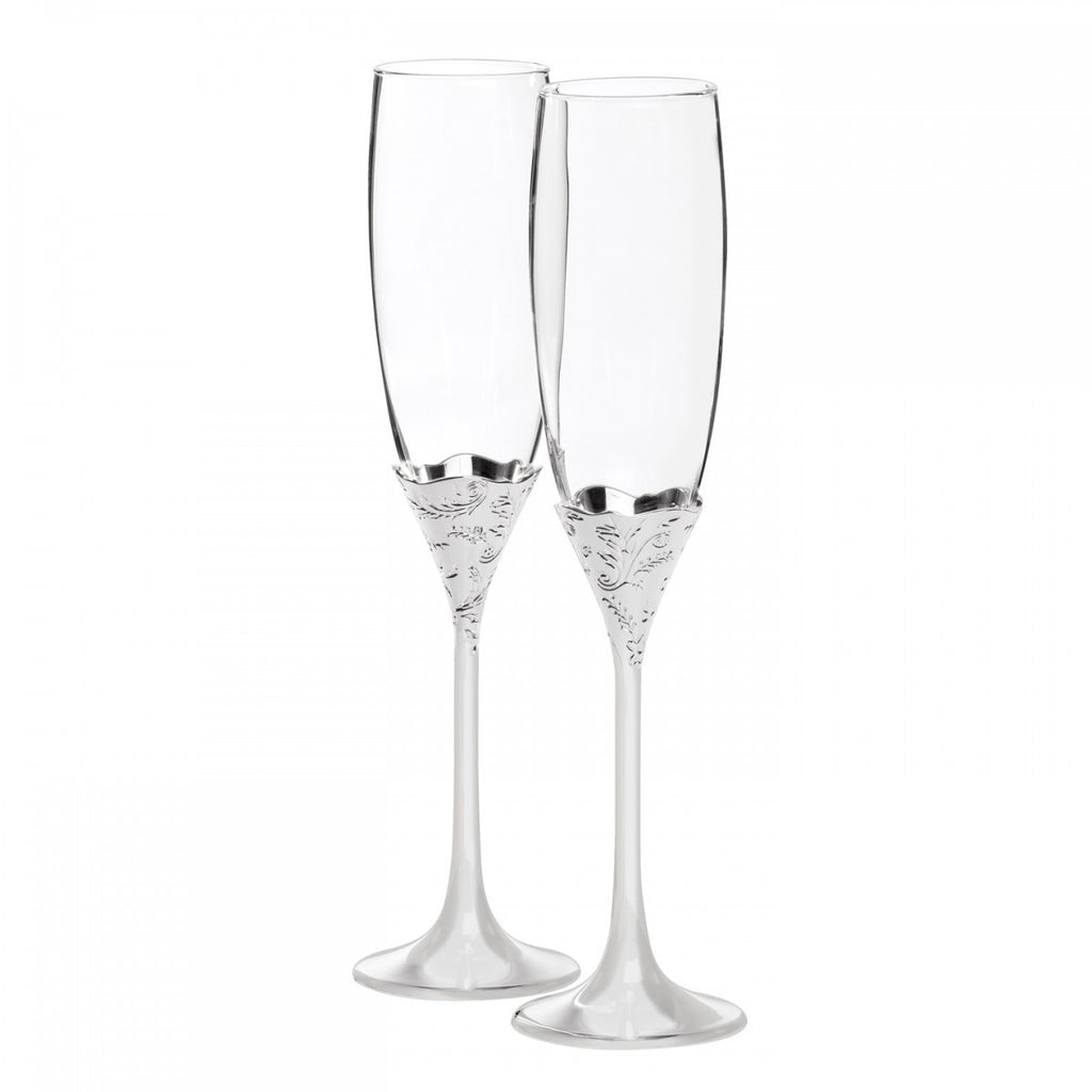 VERA LACE BOUQUET TOASTING FLUTE PAIR