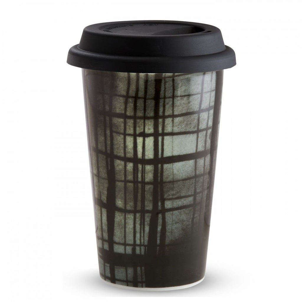 VERA PRINT PLAID TRAVEL MUG 12 OZ