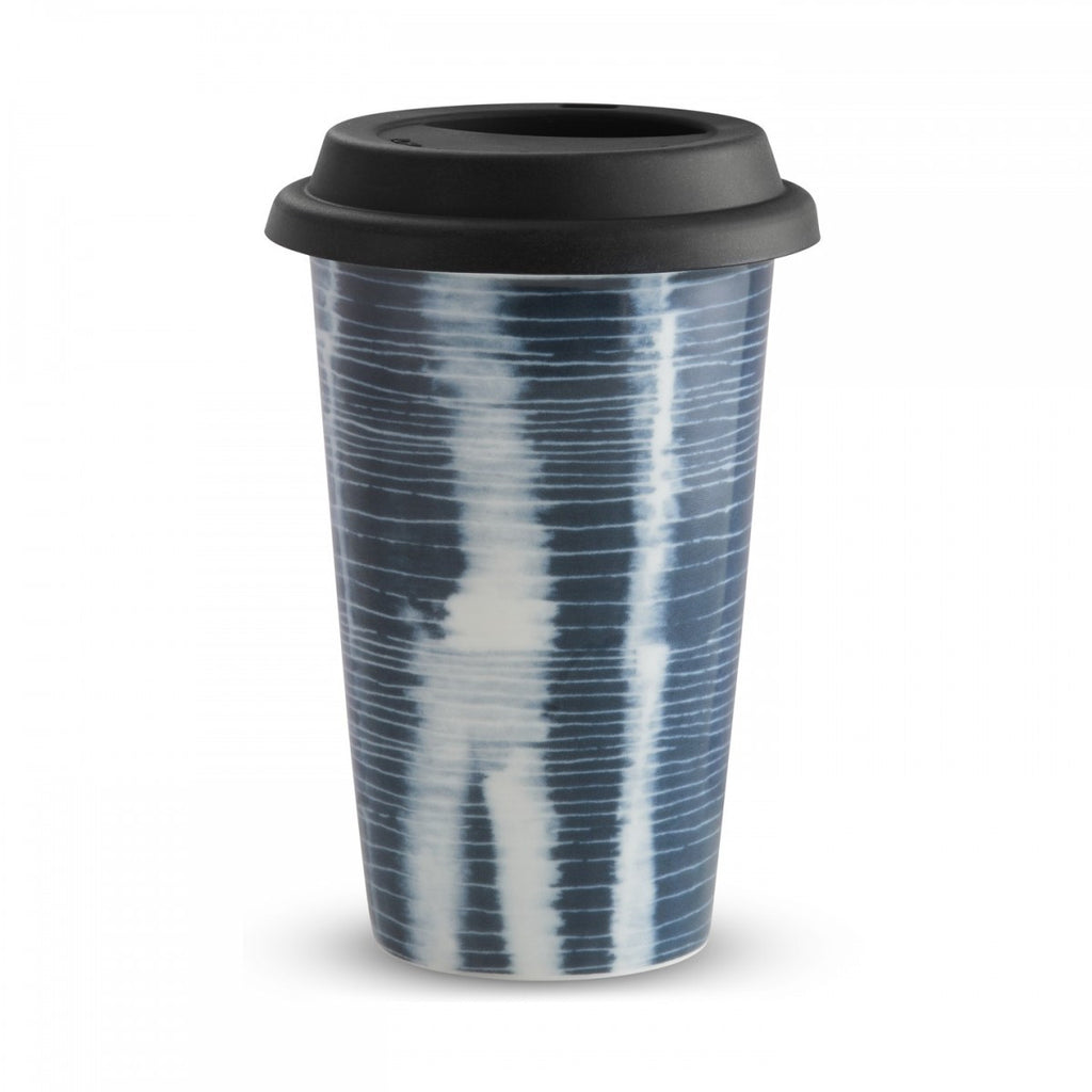 VERA PRINT STRIPE TRAVEL MUG 12 OZ