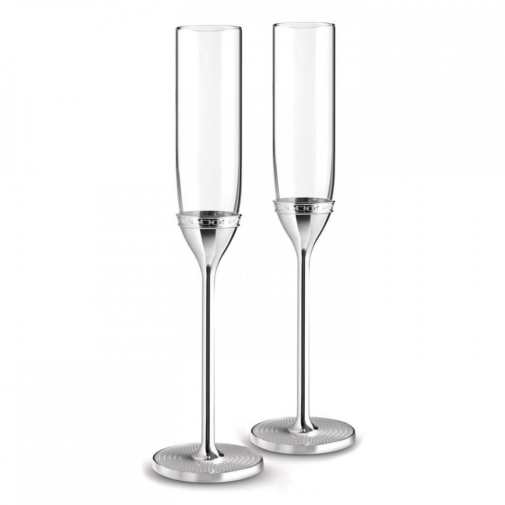 WITH LOVE NOUVEAU TOASTING FLUTE PAIR SILVER