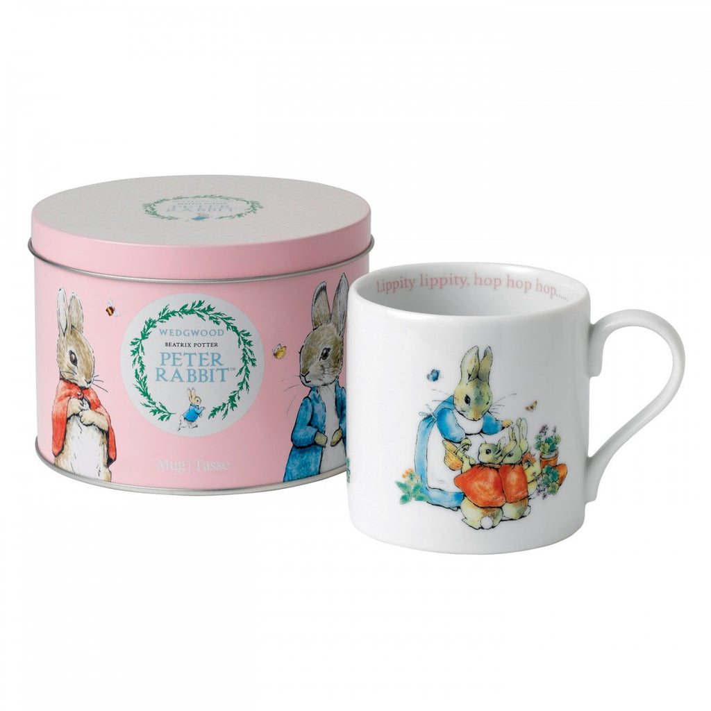 PETER RABBIT MUG IN A TIN PINK
