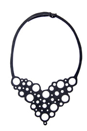 chic made consciously sustainable necklace handmade from repurposed tire inner tubes