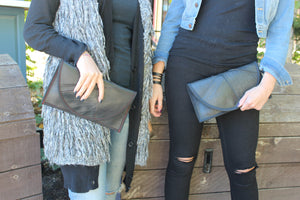 chic made consciously repurposed clutch made from tire inner tubes