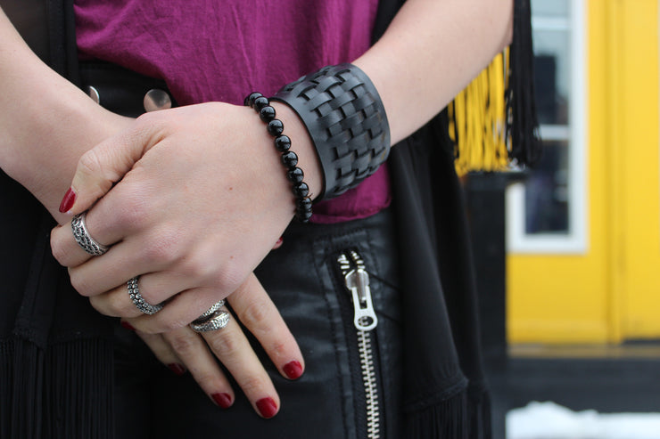 chic made consciously ethical handmade bracelet made from tire inner tubes