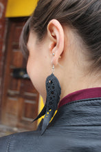 sustainable upcycled feather earrings made from tire tubes