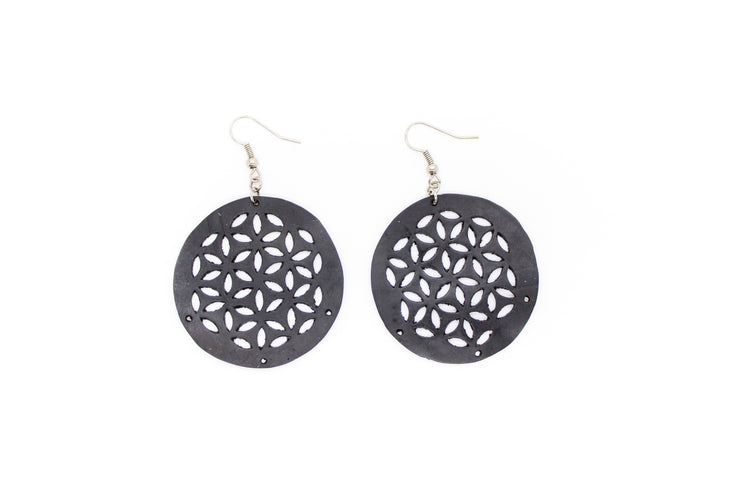 chic made consciously eco friendly upcycled flower of life earrings made from tire inner tubes