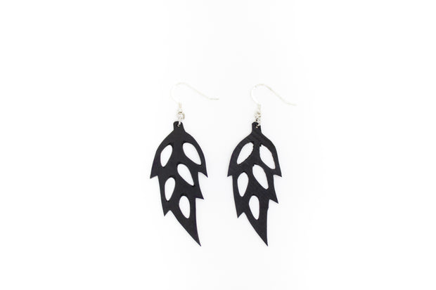 chic made consciously upcycled leaf earrings made from repurposed tire inner tubes