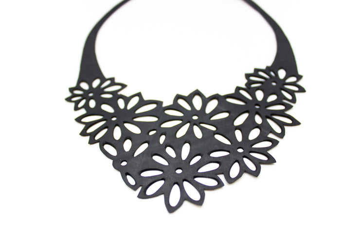 chic made consciously flower necklace made from upcycled tire inner tubes fair trade from bali