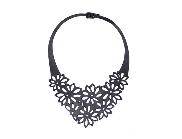 chic made consciously handmade flower necklace made from recycled tire
