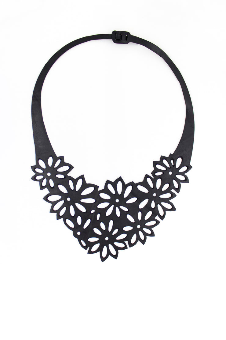 chic made consciously eco friendly flower necklace made from upcycled tire inner tubes fair trade from bali