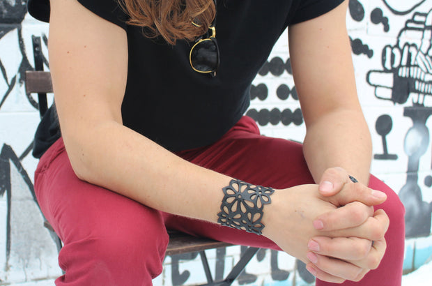 chic made consciously eco friendly upcycled unisex flower bracelet made from tire inner tubes in Bali