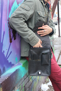 upcycled sustainable unisex tablet bag made from repurposed tire inner tubes in indonesia