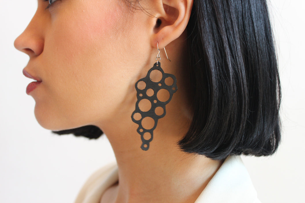 repurposed handcrafted earrings made from tire inner tubes