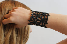 upcycled vegan flower bracelet made from truck tire inner tubes