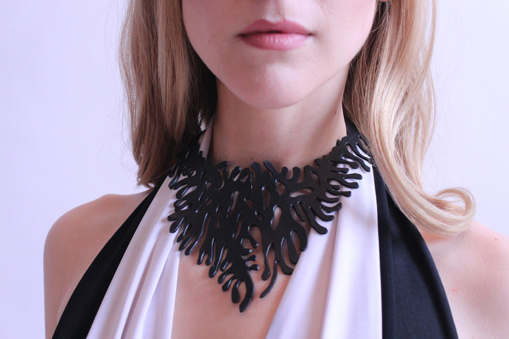 chic made consciously sustainable coral necklace made from tire inner tubes