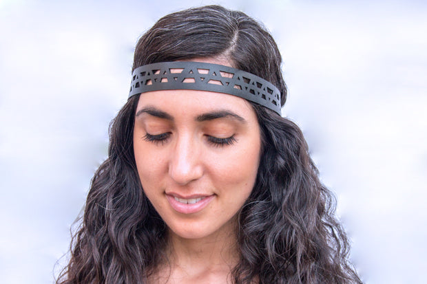 chic made consciously sustainable headband made from repurposed tire inner tubes