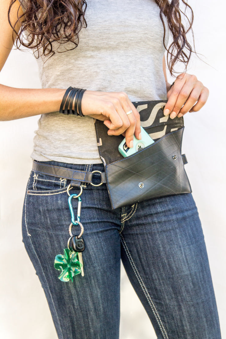 chic made consciously sustainable vegan festy pack made from upcycled tire inner tubes
