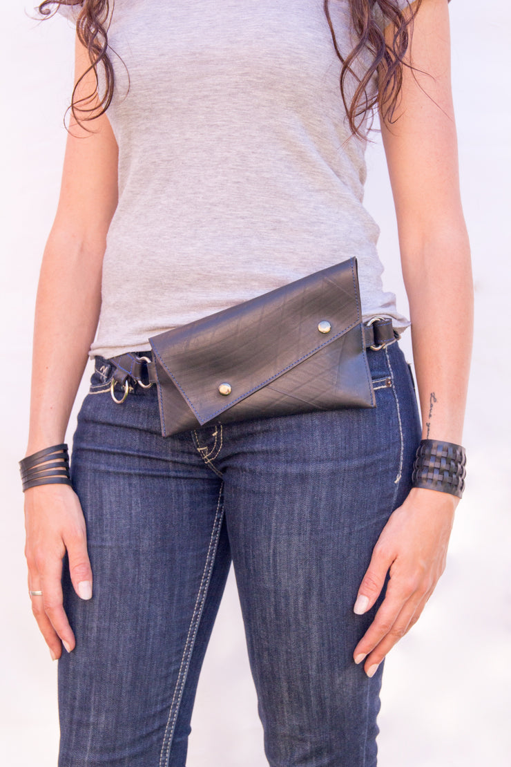 chic made consciously eco friendly festival bag handmade from repurposed tire inner tubes in bali