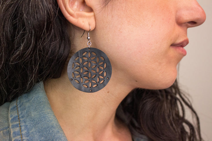 chic made consciously sustainable flower of life earrings ethically made in Bali