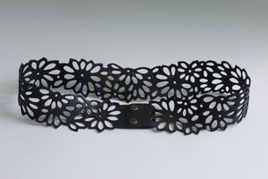 chic made consciously hand cut flower belt made from tire inner tubes