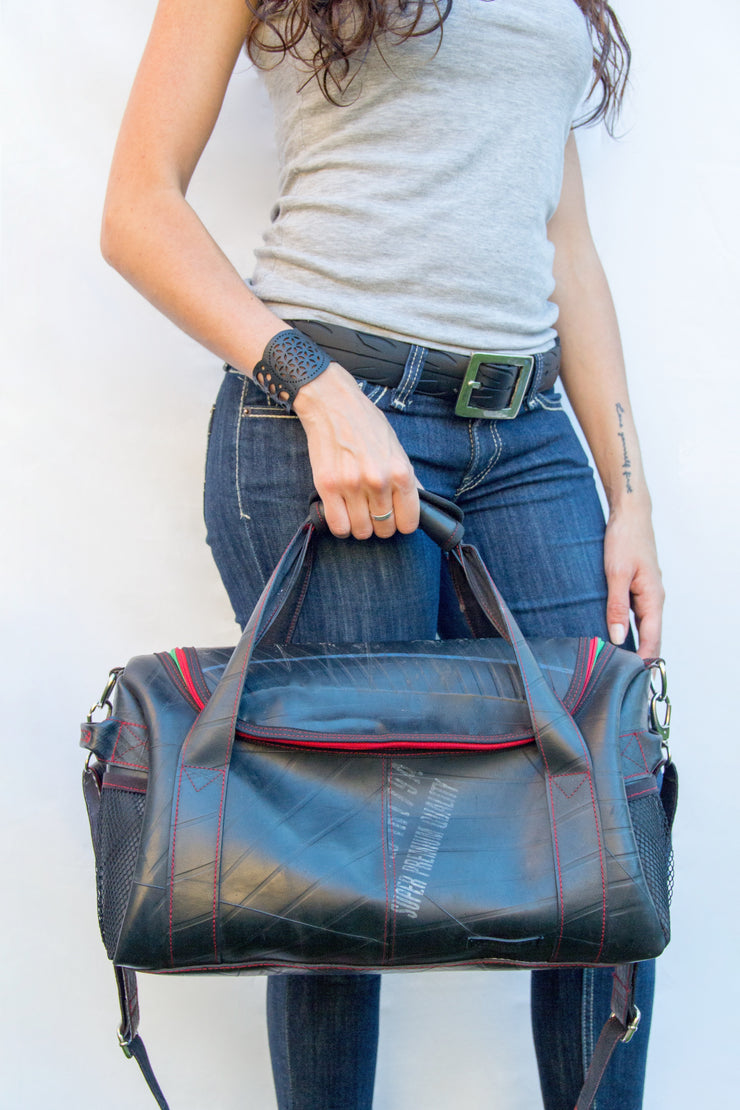 chic made consciously sustainable versatile bag handmade from tire inner tubes