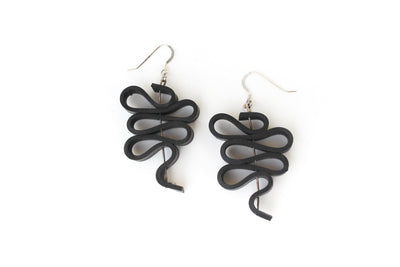chic made consciously sustainable upcycled earrings made from tire inner tubes in bali