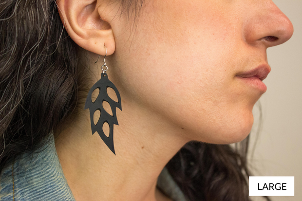 chic made consciously sustainable leaf earrings made from repurposed tire tubes