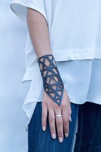 chic made consciously eco friendly geometrical bracelet made from tire inner tubes