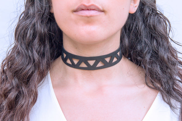 chic made consciously eco friendly geometrical choker made from repurposed tire inner tubes