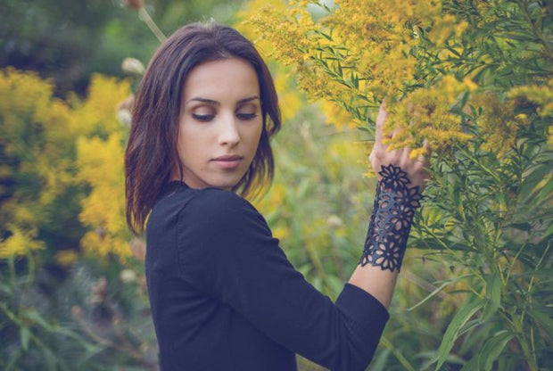 chic made consciously upcycled flower bracelet made from tire tubes