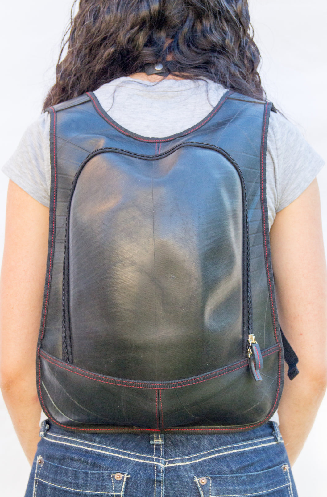 chic made consciously sustainable backpack made from repurposed tire inner tubes