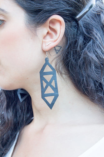 chic made consciously eco friendly geometrical earrings made from repurposed tire inner tubes
