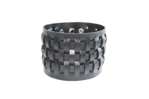 chic made consciously sustainable unisex weave bracelet made from repurposed tire inner tubes