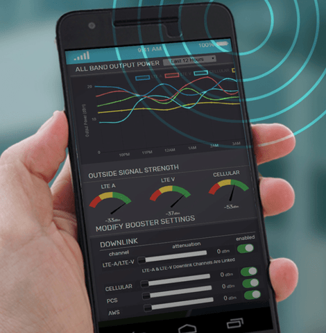 SureCall Cloud Remote Monitoring App for Signal Booster Control