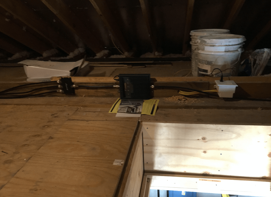 A Powerful Phone Booster Main Unit Installed in the Attic