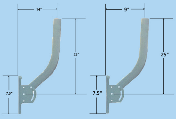 Dimension measurements upon adjustment of the pipe on the wall mount.