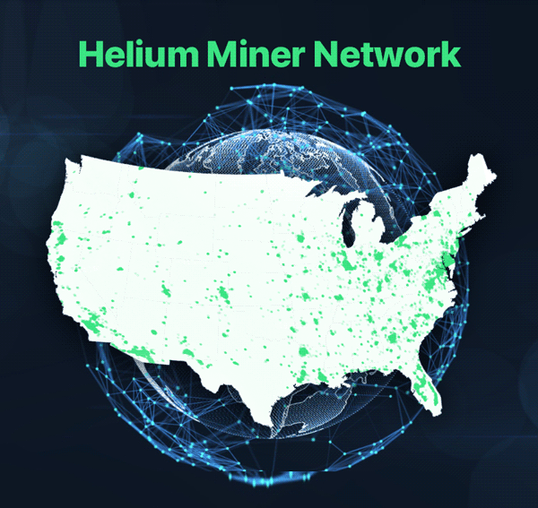 Helium Miner Network Coverage Area Map