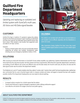 Signal Booster Boosts Voice & Data Signal in Guilford Fire Department Headquarter.
