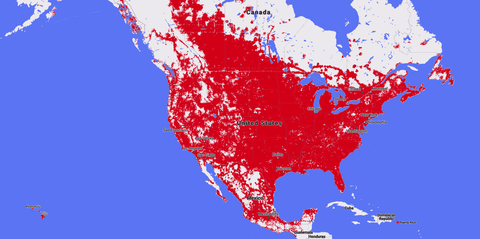 Sprint on and off network roaming coverage map