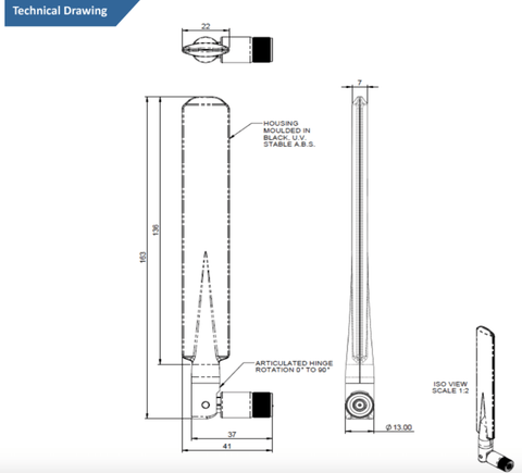 Technical Drawing of WiFi Paddle Terminal Antenna with Articulated SMA Connector (2.4 and 5 GHz)