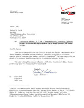 Verizon Signal Booster Approval Letter.